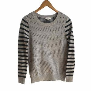 Madewell grey and black hearts and stripes sweater